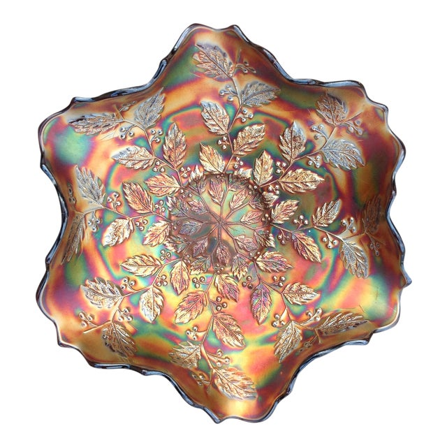Amethyst Carnival Glass Holly Bowl For Sale