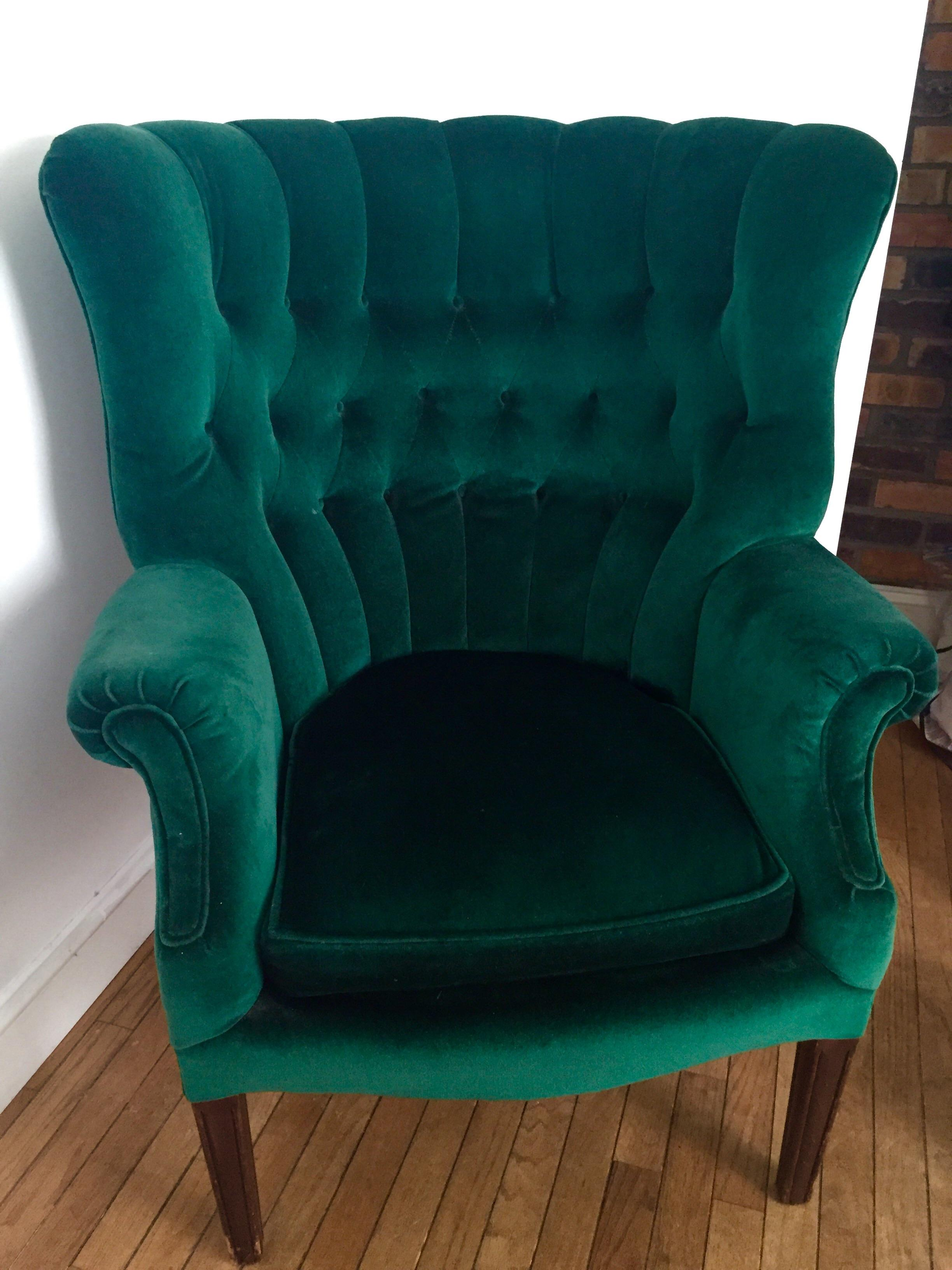Vintage Emerald Green Armchair   Image 3 Of 4