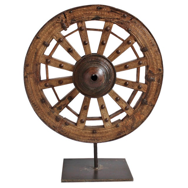 Large Ox Cart Wheel on Stand - Image 1 of 2