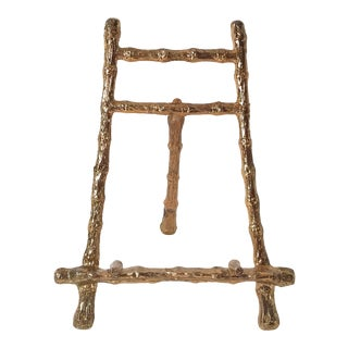 Mid Century Vintage Faux Bamboo Gold Mini Easel For Sale