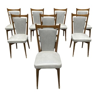 1940s Vintage French Art Deco Solid Walnut Dining Chairs - Set of 8 For Sale