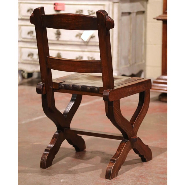 Spanish Carved Oak and Leather Dining Chairs, Set of 6 Side Chairs 2 Armchairs For Sale In Dallas - Image 6 of 9