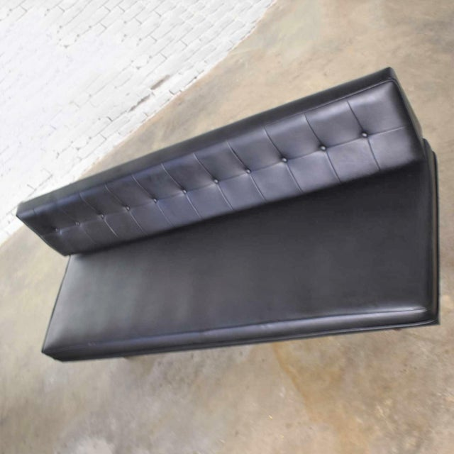 Wood Vintage Mid Century Modern Black Vinyl Faux Leather Convertible Sofa by Universal of High Point For Sale - Image 7 of 13