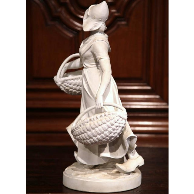 19th Century French Woman Holding Wicker Baskets Biscuit Porcelain Sculpture For Sale - Image 4 of 9