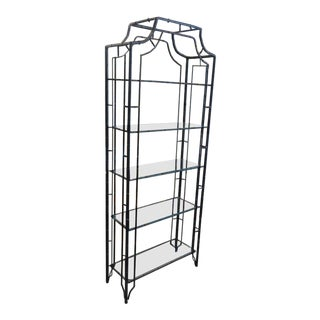 Pagoda Metal Faux Bamboo Etagere