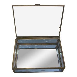 Vintage Glass & Brass Trinket Jewelry Box
