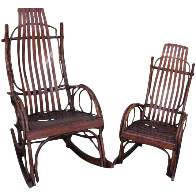 Amish Bent Wood Adults and Child's Rocking Chairs - Set of 2 For Sale
