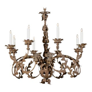 Italian 1890s Wrought Iron Eight-Light Chandelier with Scrolling Acanthus Leaves For Sale