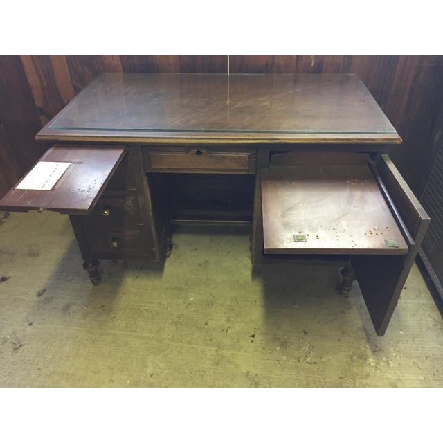 Antique Distressed Wooden Desk - Image 3 of 4