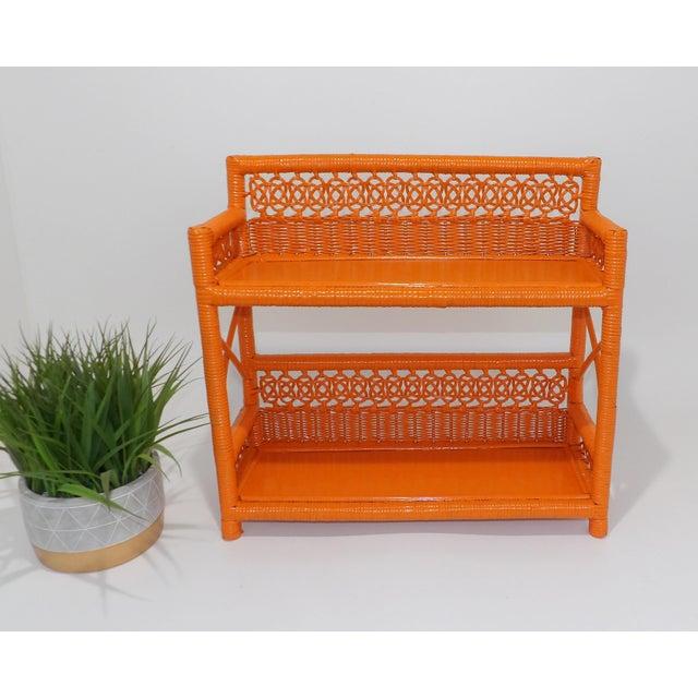 Mid Century Modern Orange Wicker Bathroom Shelf For Sale - Image 4 of 8