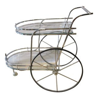 Art Deco Style Chrome and Glass Bar Cart For Sale
