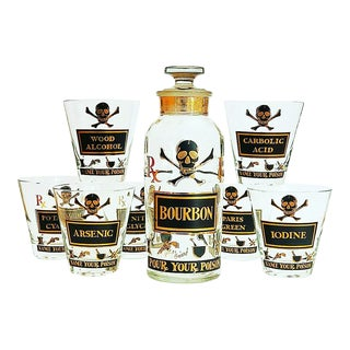 "1960s Georges Briard Bourbon Decanter and ""Name Your Poison"" Glass Set - Set of 8 For Sale"