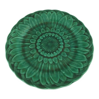 1870's Wedgwood Green Majolica Sunflower in Basket Plate For Sale