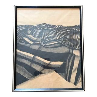 1970s Vintage Zebra Pattern Charcoal Drawing For Sale