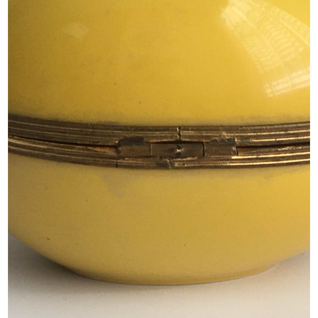 1970s Chamart Co Exclusive Limoges, France Porcelain Trinket Box, Yellow Egg For Sale - Image 12 of 13