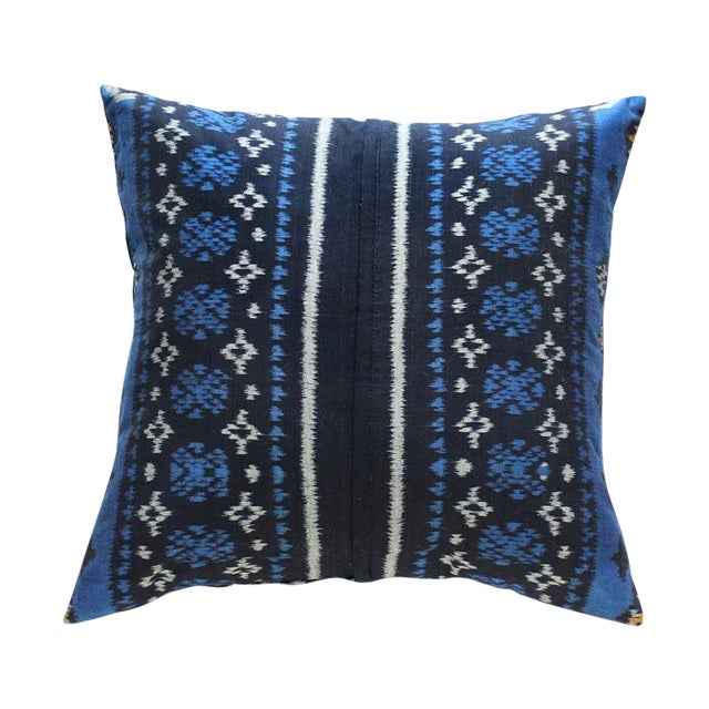 Indigo Handwoven Ikat Pillow From Bali - Image 1 of 6