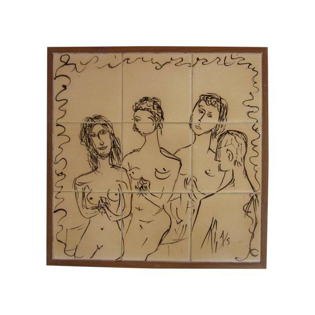 Painted Modernist Nine Tile Signed by Artist Nude - Image 1 of 4