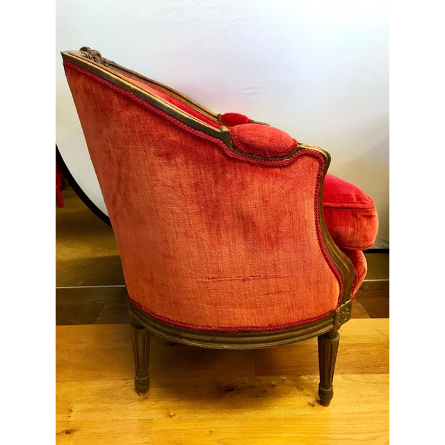 Pair of Belle Epoque French Louis XV Style Red Velvet Bergeres Chairs Armchairs For Sale In New York - Image 6 of 12