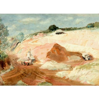 "Original 1968 ""Sandpit"" Watercolor Painting For Sale"