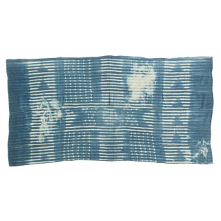 Vintage Batik Indigo African Textile Throw For Sale