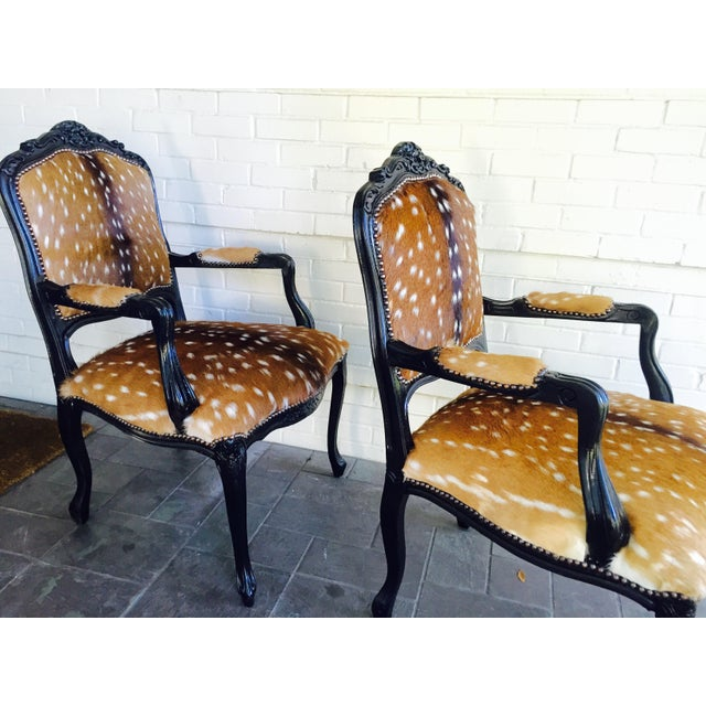 French Axis Deer Arm Chairs - Pair For Sale In Dallas - Image 6 of 11