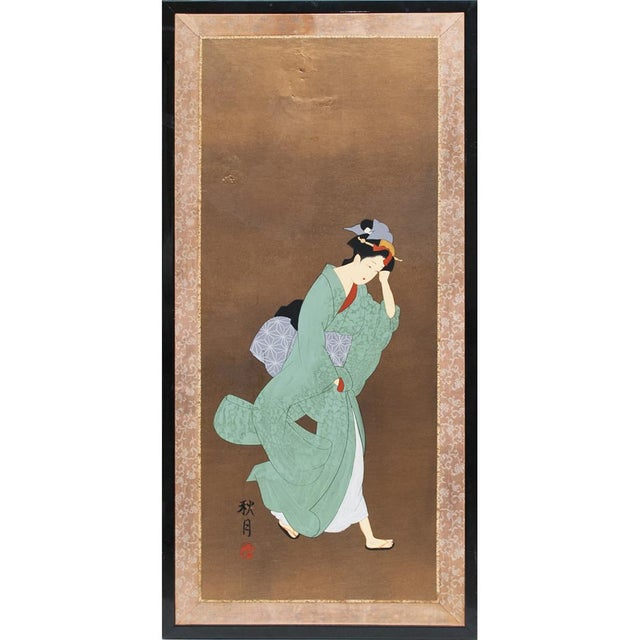Late Meiji or Early Taishō Era Japanese Painted Panel For Sale - Image 10 of 10