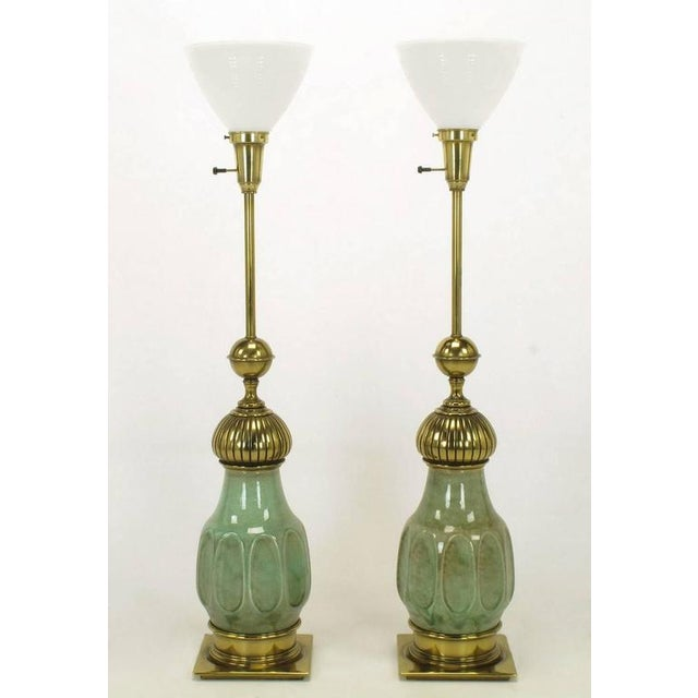 Pair of Stiffel Sea Foam Green Crackle Glaze and Brass Moorish Style Table Lamps - Image 2 of 7