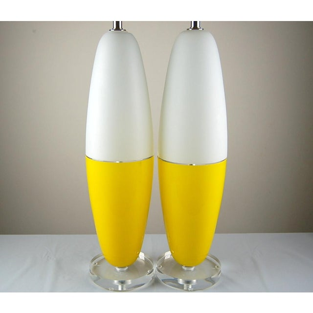 Silver Vintage Murano Glass Capsule Table Lamps in Yellow/White For Sale - Image 8 of 11