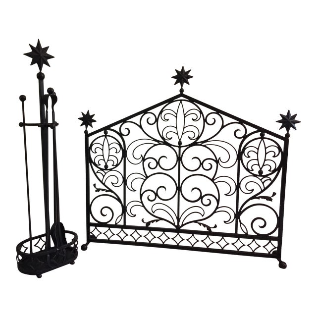 Iron Fireplace Screen & Utensil Set For Sale