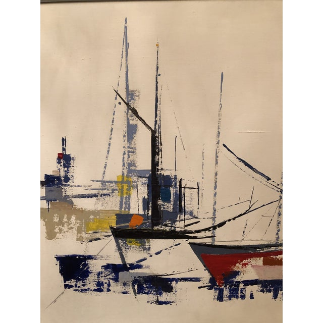 Metal 1970s Vintage Jp Collin Abstract Sailboat Painting For Sale - Image 7 of 9