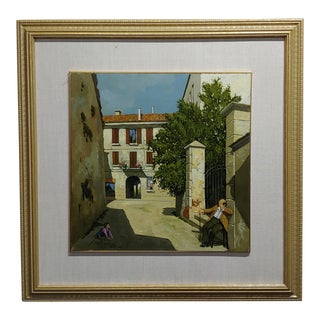 Lucio Sollazzi -Grandpa's Afternoon in an Italian Village -Oil Painting C1960s For Sale
