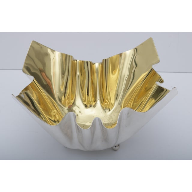 Silver plated with gold, Italian wash bowl. Circa 1970s.