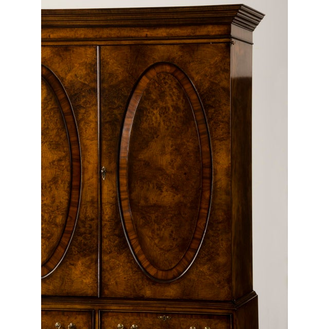 Gold English Burl Walnut Linen Press For Sale - Image 8 of 10