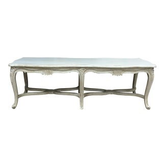 French Louis XV Carved Wood Bench For Sale