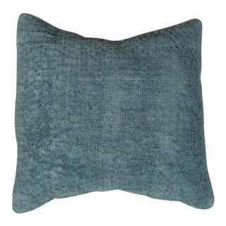 Vintage Designer Wool Blue Sofa Pillow For Sale