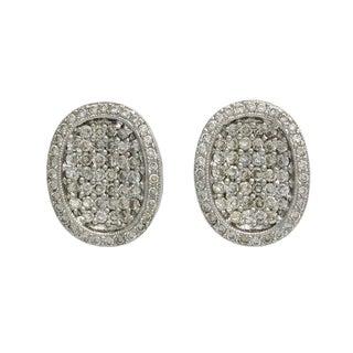 18k White Gold Pave Diamond Oval Pierced Earrings For Sale