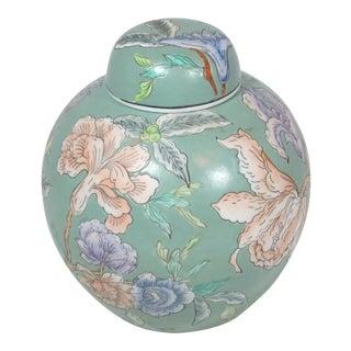 1960s Vintage Porcelain Chinese Floral Ginger Jar For Sale