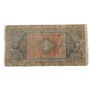 "Vintage Distressed Oushak Rug Mat - 1'7"" X 3'2"" For Sale"