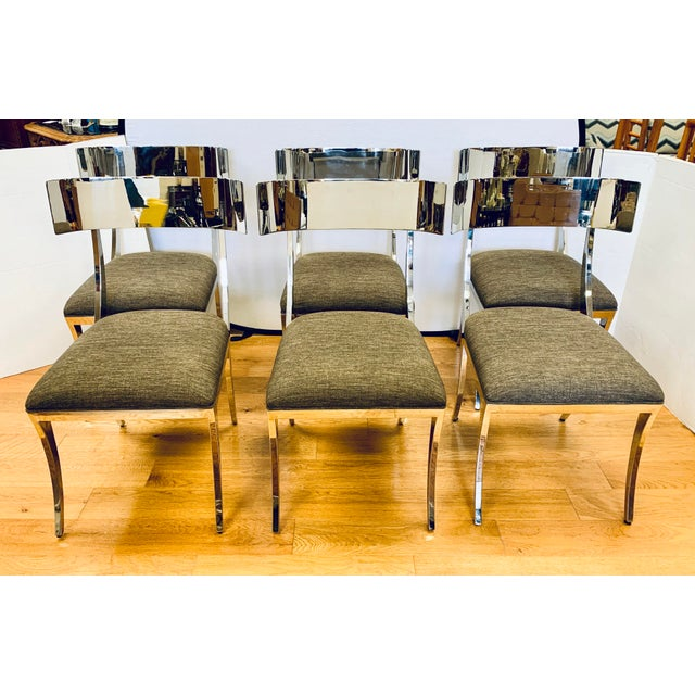 Chrome Klismos Dining Chairs - Set of 6 For Sale - Image 11 of 11