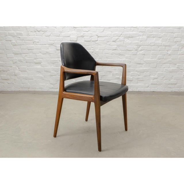 Mid-Century Scandinavian Design Teak Wood and Leather Side / Desk Chair, 1960s For Sale - Image 11 of 11