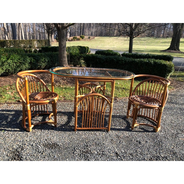 Boho Chic Rattan and Bentwood Dining Set for Two - 3 Pieces For Sale - Image 13 of 13