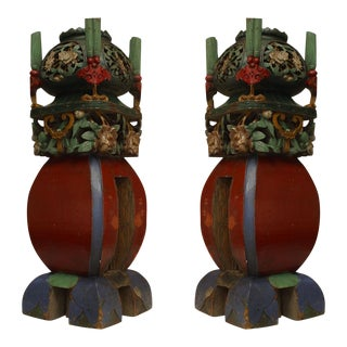 Asian Chinese Style Square Multicolored Painted and Carved Garden Seat Newell Posts- A Pair For Sale