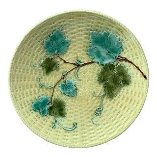 1880 Sarreguemines Majolica Vine Leaves Plate For Sale