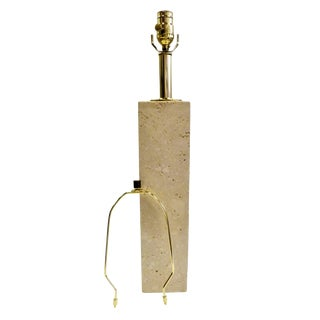 Modern Robsjohn-Gibbings Style Mid Century Travertine Marble Table Lamp For Sale