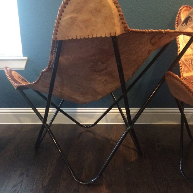 Vintage Leather Butterfly Chairs & Ottoman - Set of 3 - Image 9 of 10