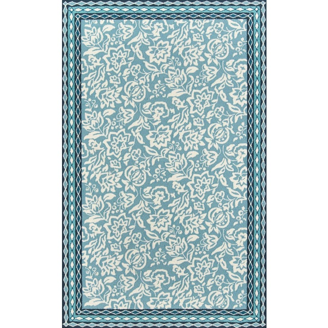 Madcap Cottage Under a Loggia Rokeby Road Blue Indoor/Outdoor Area Rug 5' X 8' For Sale