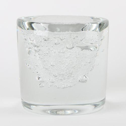 Excellent Clear Crystal Bubble Vase By Floris Meydam For Leerdam