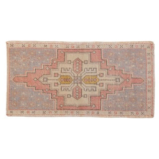 "Vintage Distressed Oushak Rug Mat - 1'8"" X 3'2"" For Sale"