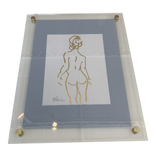 Gold Nude Painting in Acrylic Frame For Sale