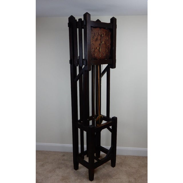 Antique Mission Arts & Crafts Tall Clock For Sale - Image 4 of 11